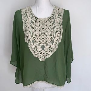 Umgee Sheer Tunic Green Bohemian Style Medium